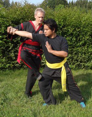 Wing Chun Kung Fu in einer Abwehr-Aktion